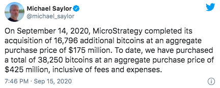 Tweet CEO MicroStrategy - 18 September 2020